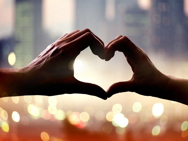 Сердце из рук мужчины и женщины - пара призналась друг другу в любви